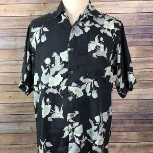 Tommy Bahama 100% Silk Floral Button Front
